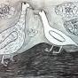 """20.10.2017 / """"Гуси"""" в Творческой студии. Автор работы: Мулгачёва Инна (7 лет)"""
